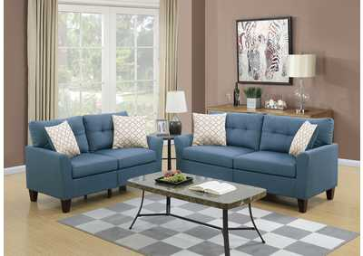 Image for Blue 2 Piece Sofa Set