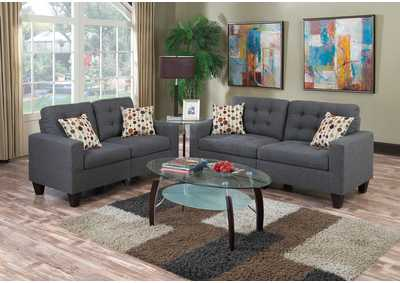 Image for Blue Grey 2 Piece Sofa Set