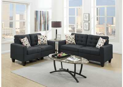 Image for Black 2 Piece Sofa Set