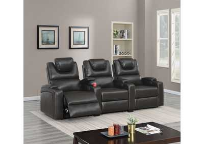 Image for Jovfur Espresso Two Straight Arm Power Recliner
