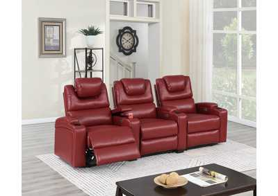Image for Jovfur Red Two Straight Arm Power Recliner