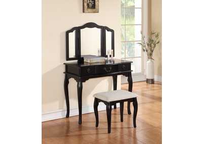Image for Black Vanity w/Stool