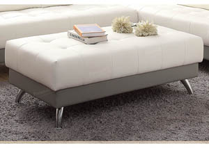 Image for White+Light Grey Cocktail Ottoman