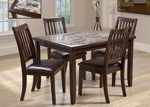 Image for 2096 5 PIECE FAUX MARBLE DINING SET