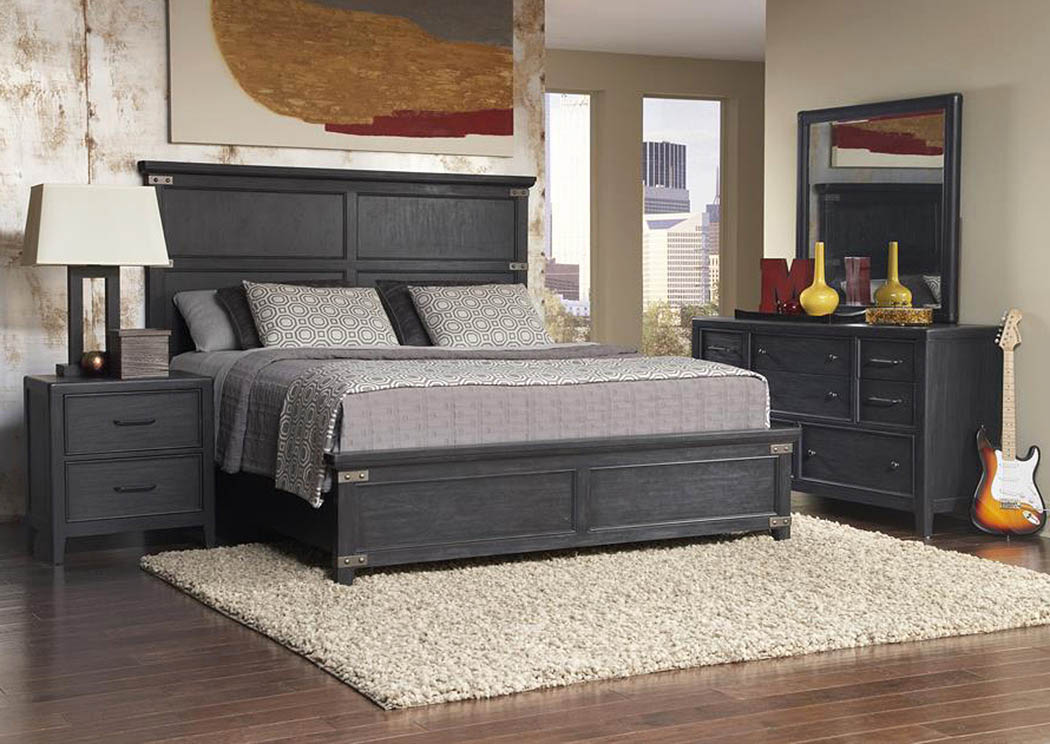 Vintage Tempo Black Queen Panel Bed,Pulaski Furniture