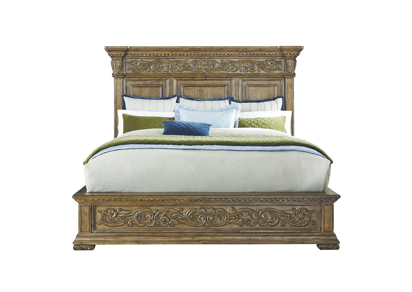 Stratton Queen Carved Platform Bed,Pulaski Furniture