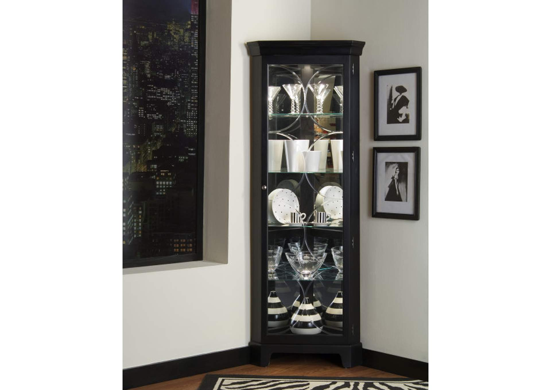 Lighted 4 Shelf Corner Curio Cabinet in Oxford Black,Pulaski Furniture