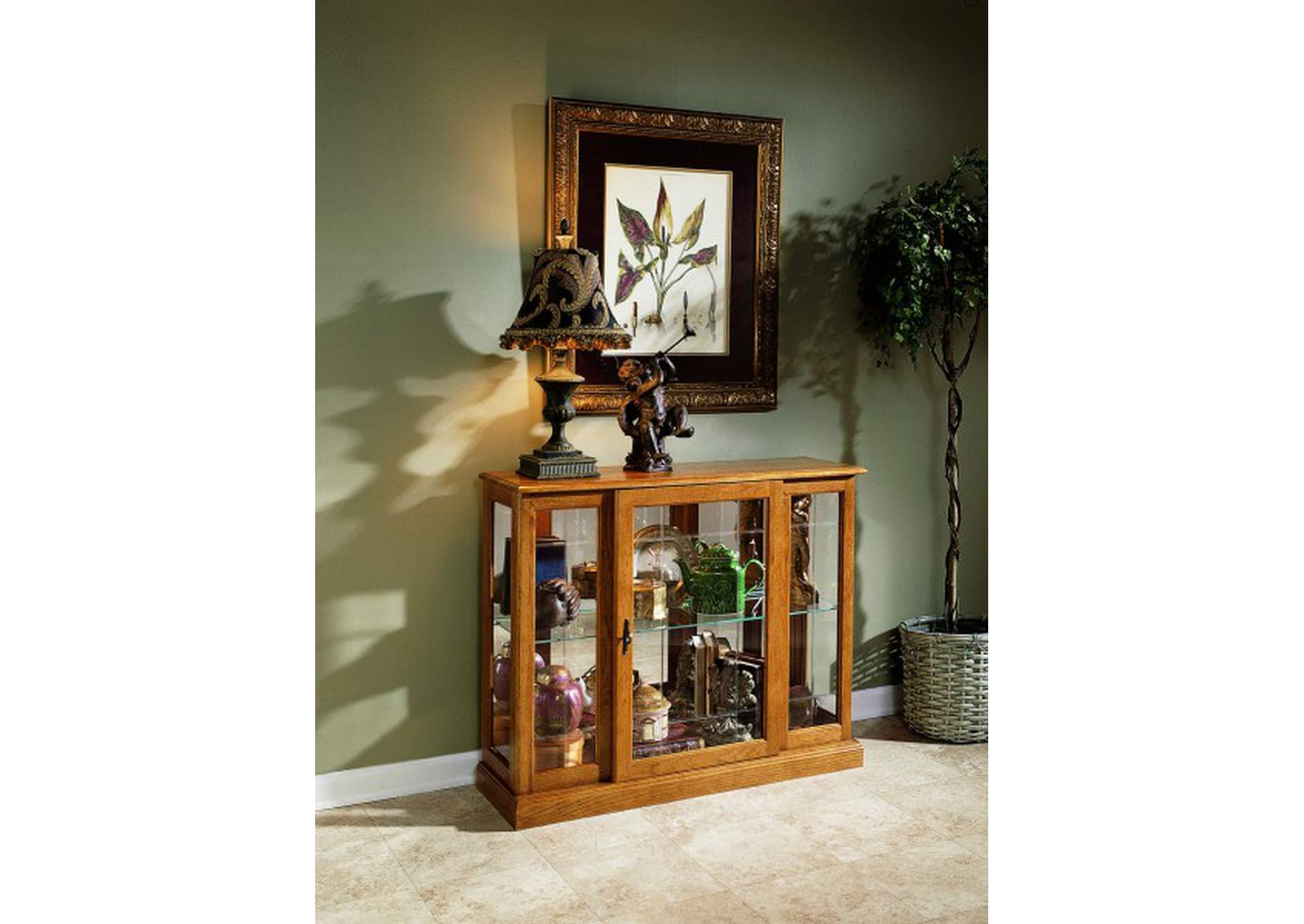 PFC Curios Golden Oak Brown Lighted 1 Shelf Console Display Cabinet,Pulaski Furniture