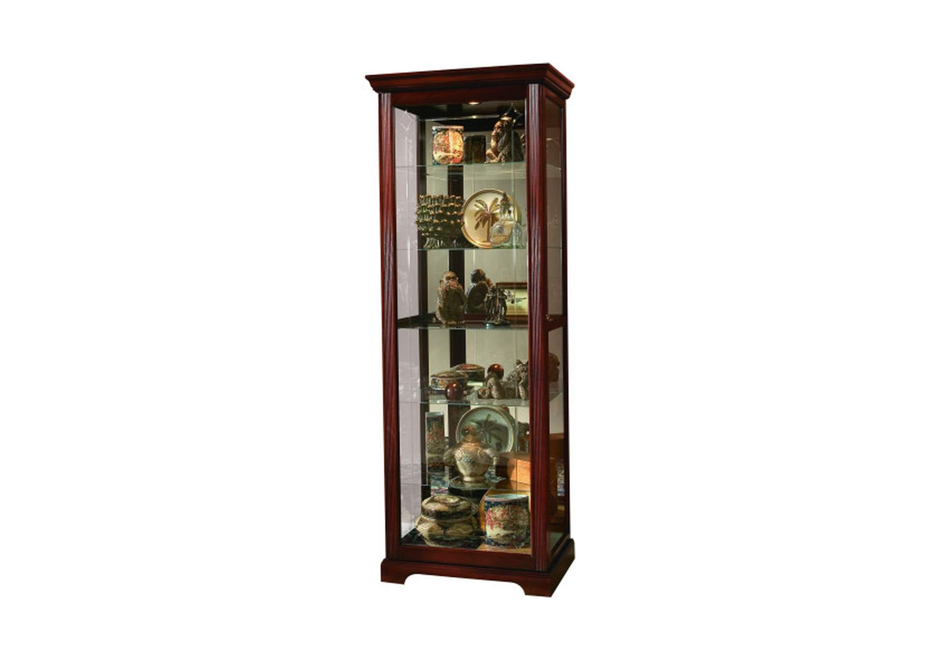 PFC Curios Victorian Brown Sliding Door 5 Shelf Curio Cabinet,Pulaski Furniture