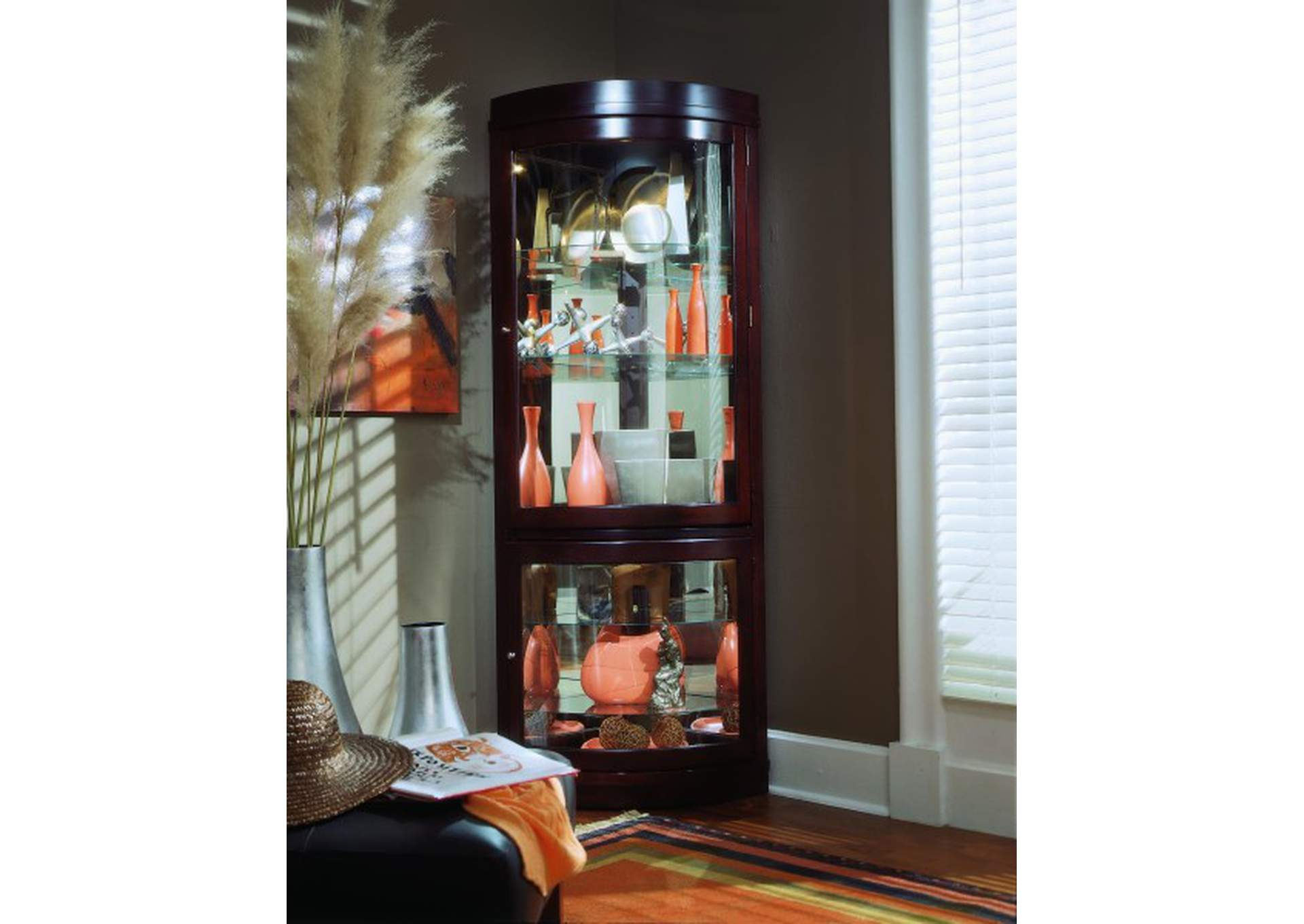 Curved  5 Shelf Corner Curio Cabinet in Cherry Brown,Pulaski Furniture