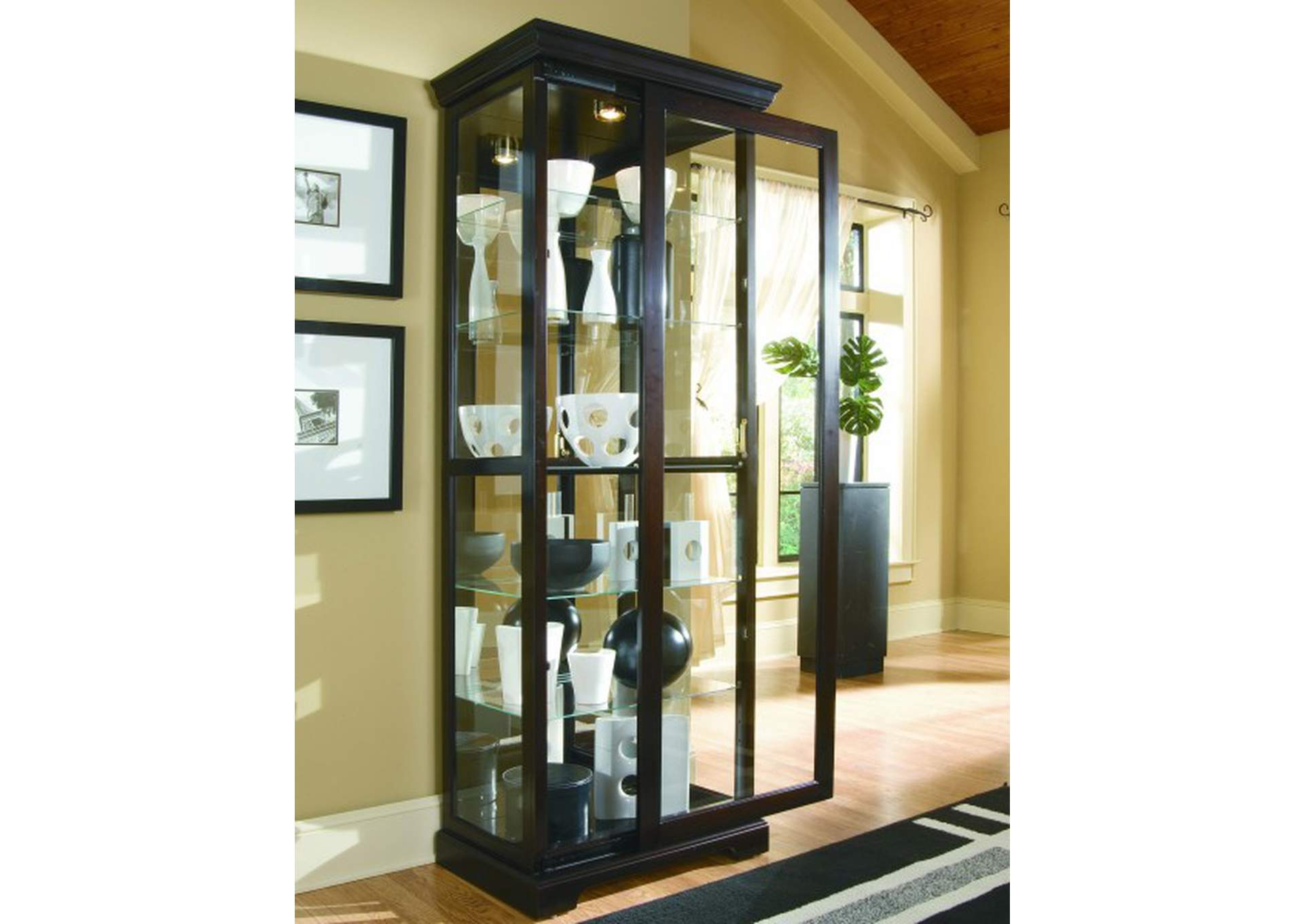 Tall 5 Shelf Curio Cabinet with Sliding Door in Cherry Brown,Pulaski Furniture