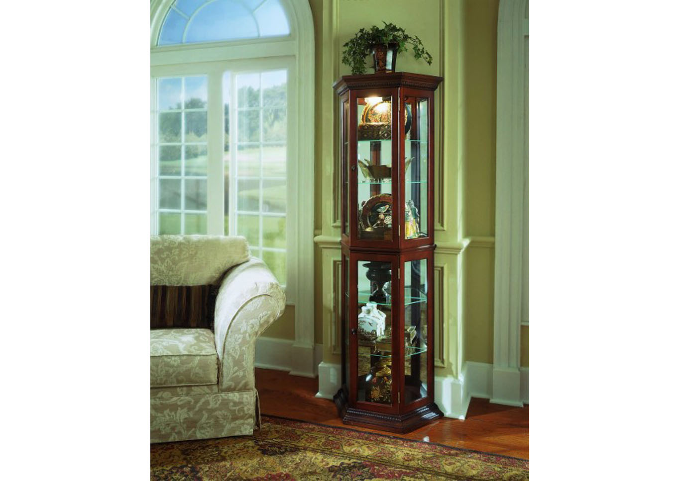 PFC Curios Warm Cherry Brown Angled 5 Shelf Mirrored Curio,Pulaski Furniture