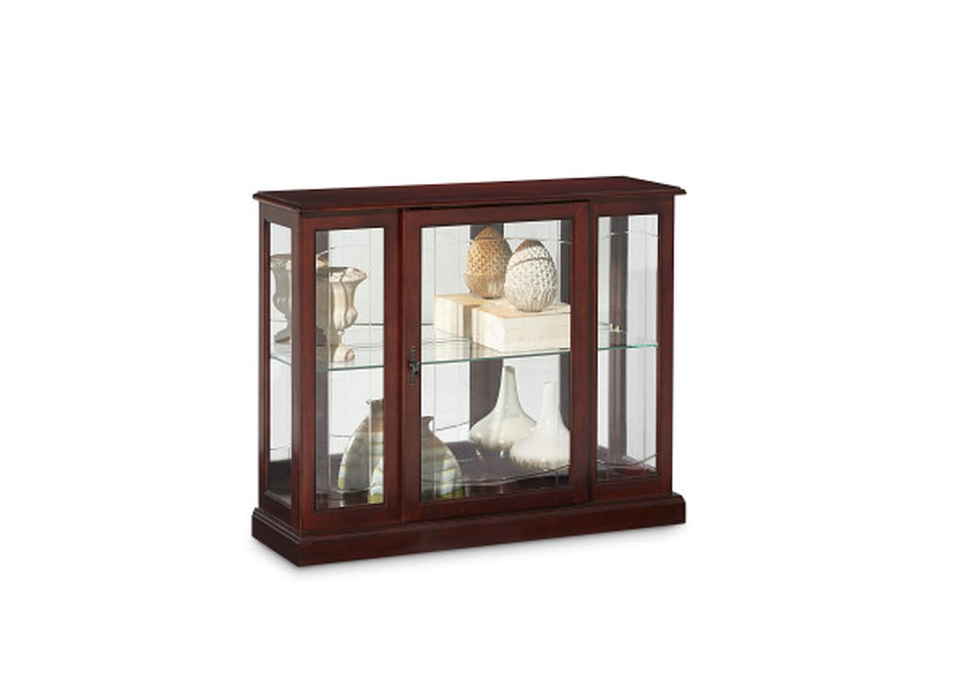 Lighted 1 Shelf Console Display Cabinet in Cherry Brown,Pulaski Furniture