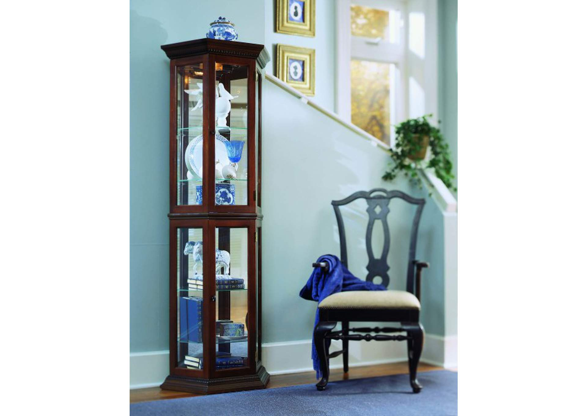 Angled 5 Shelf Mirrored Curio in Deep Heritage Brown,Pulaski Furniture