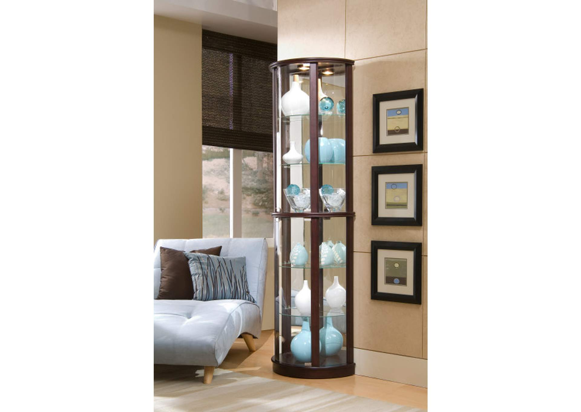 PFC Curios Cherry Brown Mirrored Half Round 5 Shelf Curio Cabinet,Pulaski Furniture