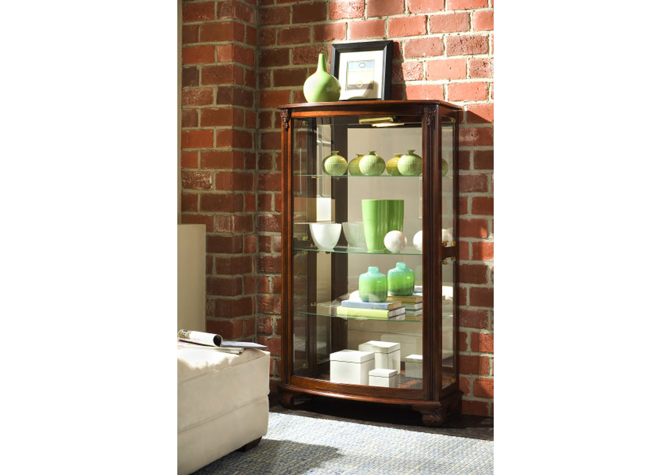 PFC Curios Maple Brown Gallery Style 3 Shelf Curio Cabinet,Pulaski Furniture
