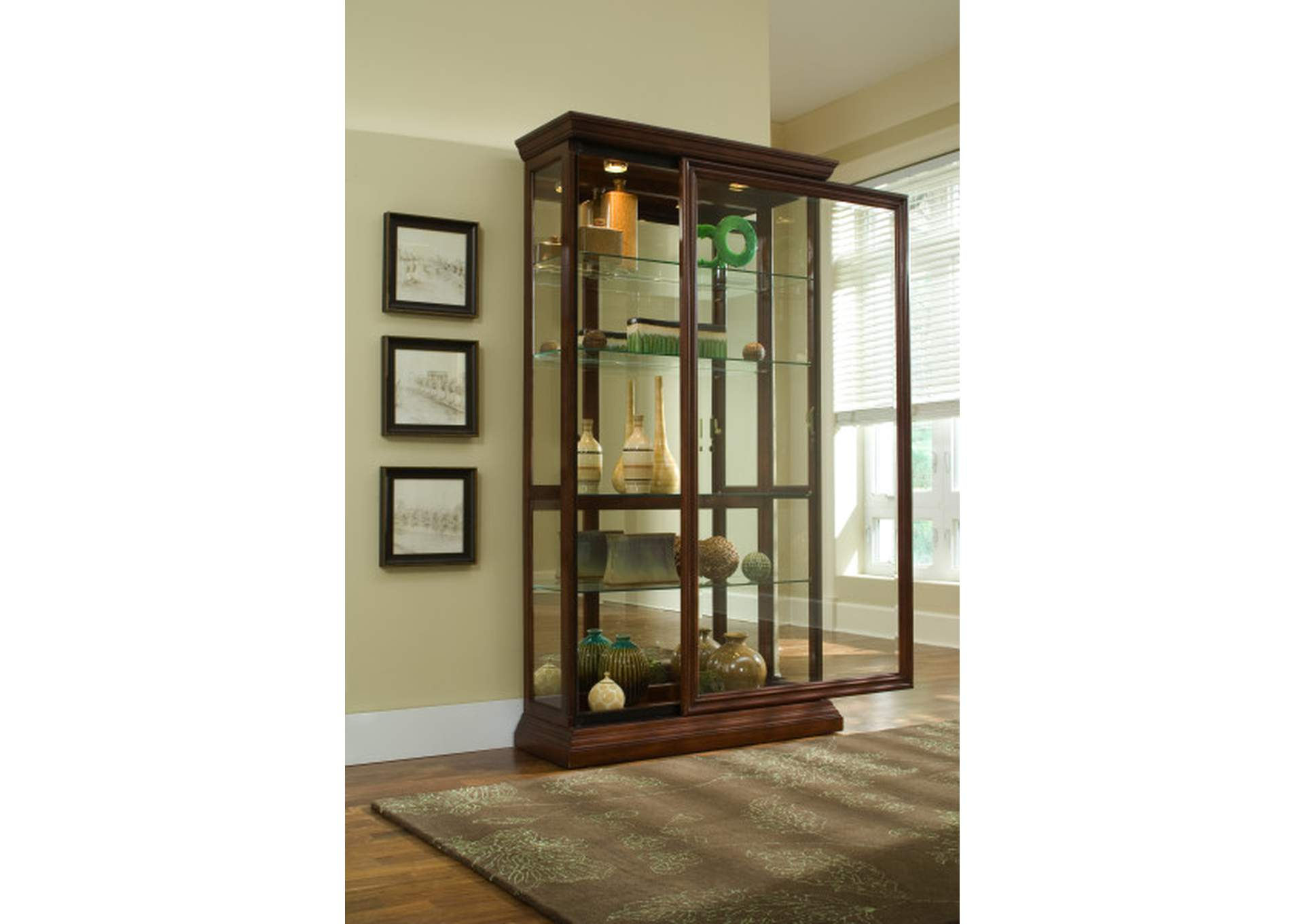 Lighted Sliding Door 4 Shelf Curio Cabinet in Cherry Brown,Pulaski Furniture