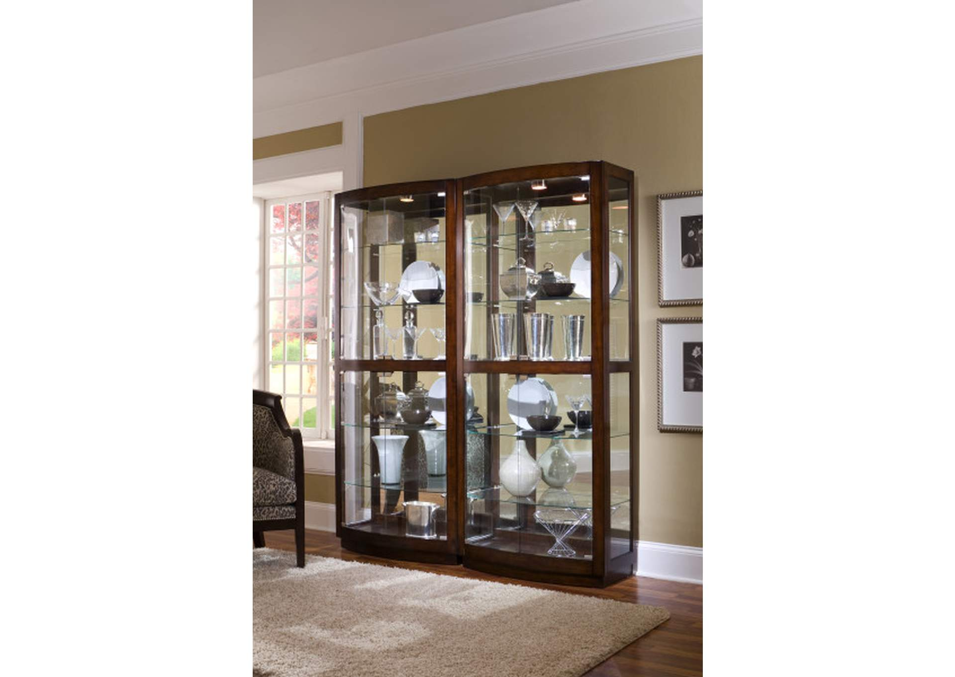 Curved Front 5 Shelf Curio Cabinet in Mahogany Brown,Pulaski Furniture