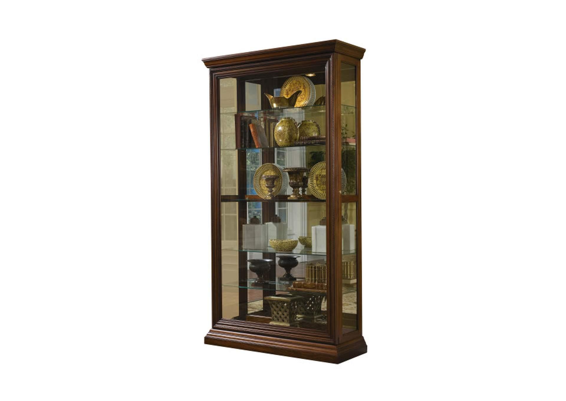 Pfc Curios Oak Brown Edwardian 5 Shelf Sliding Door Curio Cabinet Luxury Home Furniture