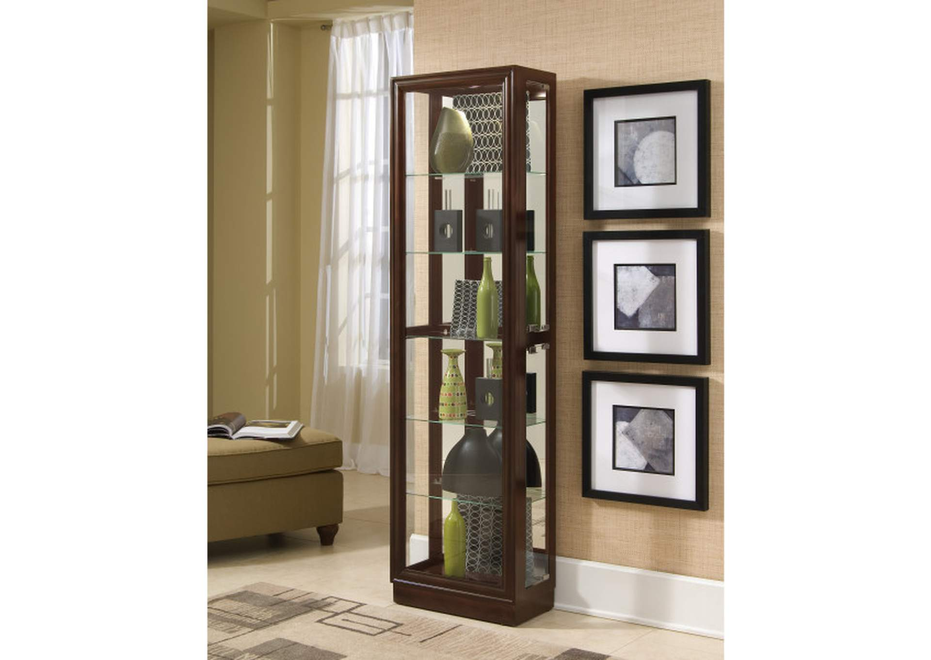 Tall Traditional 5 Shelf Curio Cabinet in Cherry Brown,Pulaski Furniture