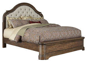 Aurora Pecan Queen Upholstered Platform Bed