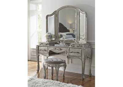 Image for Rhianna Aged Silver Vanity Table Set w/Mirror & Stool