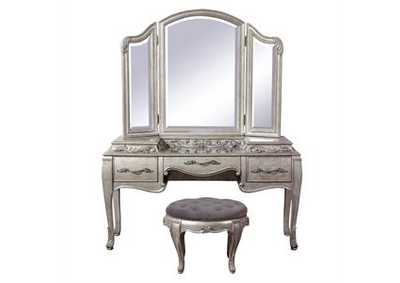 Image for Rhianna Aged Silver 3 Panel Vanity Mirror