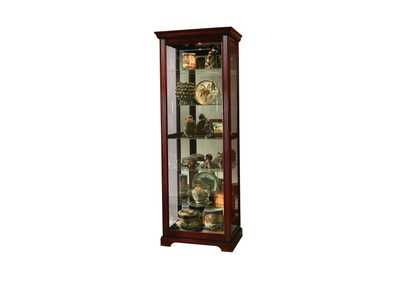 PFC Curios Victorian Brown Sliding Door 5 Shelf Curio Cabinet