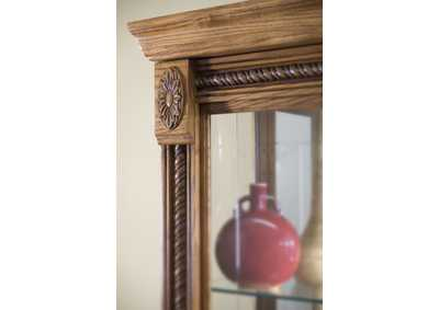 Image for PFC Curios Maple Brown Lighted Sliding Door 5 Shelf Curio Cabinet