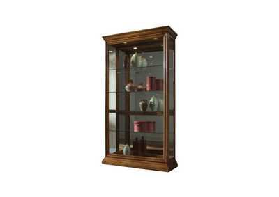 Image for PFC Curios Golden Oak Brown Lighted Sliding Door 4 Shelf Curio Cabinet