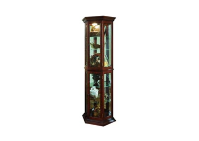 PFC Curios Warm Cherry Brown Angled 5 Shelf Mirrored Curio