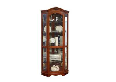 Image for PFC Curios Warm Cherry Brown Mirrored Corner Curio Cabinet