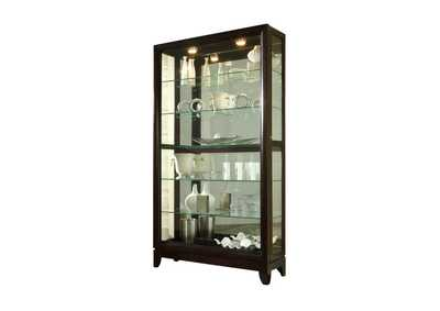 Image for PFC Curios Deep Brown Sliding Door 5 Shelf Curio Cabinet