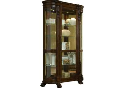 Image for PFC Curios Maple Brown Lighted Curved Front 4 Shelf Curio Cabinet