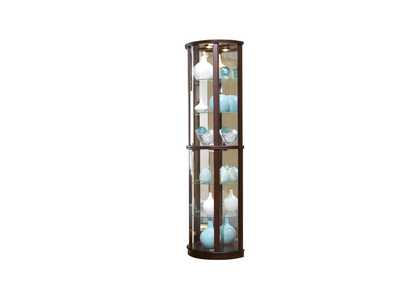 PFC Curios Cherry Brown Mirrored Half Round 5 Shelf Curio Cabinet