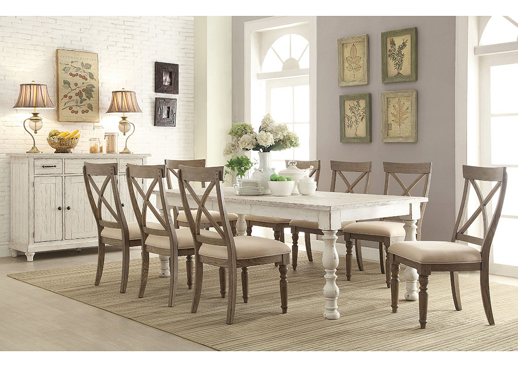 Aberdeen Weathered Worn White Rectangle Extension Dining Table W 8 X Back Side Chairs Renaissance Philadelphia Pa