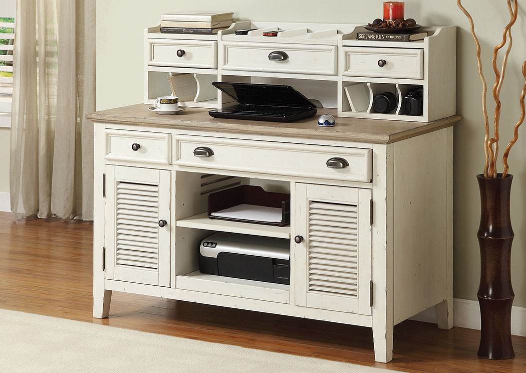 Coventry Two Tone Weathered Driftwood Dover White Credenza Desk W Small Hutch Penland S Furniture