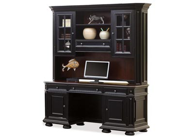 Image for Allegro Burnished Cherry/Black Credenza Desk w/Hutch