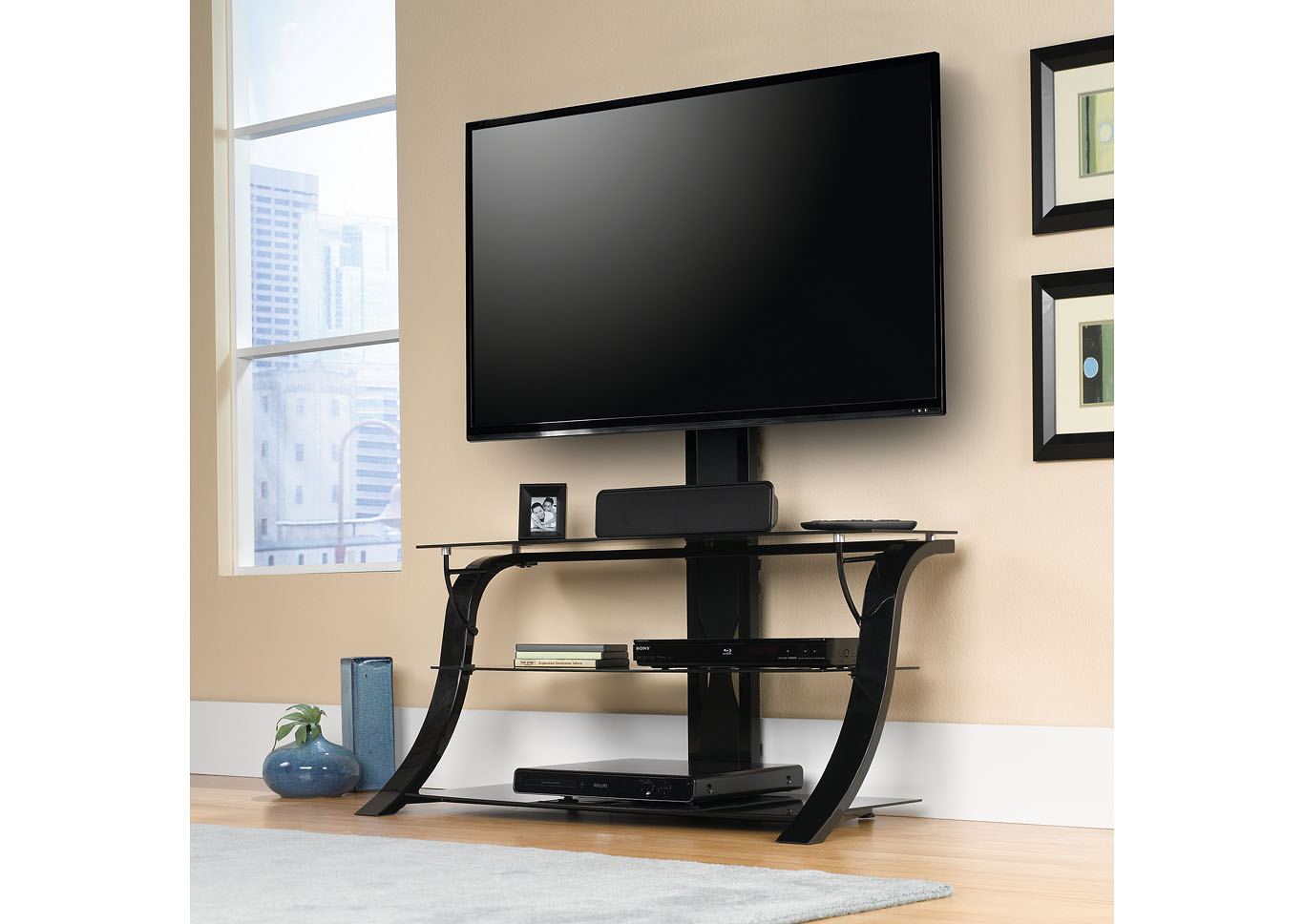 Black Panel Tv Stand w/Mount,Sauder