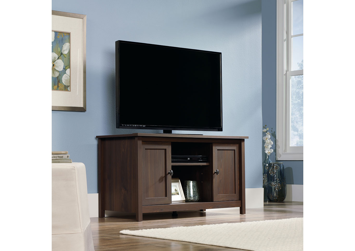 County Line Tv Stand Rum Walnut,Sauder