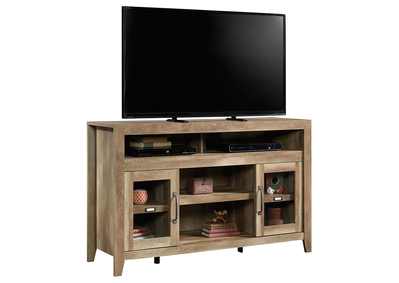 Dakota Pass Craftsman Oak Entertainment Credenza w/Fireplace,Sauder