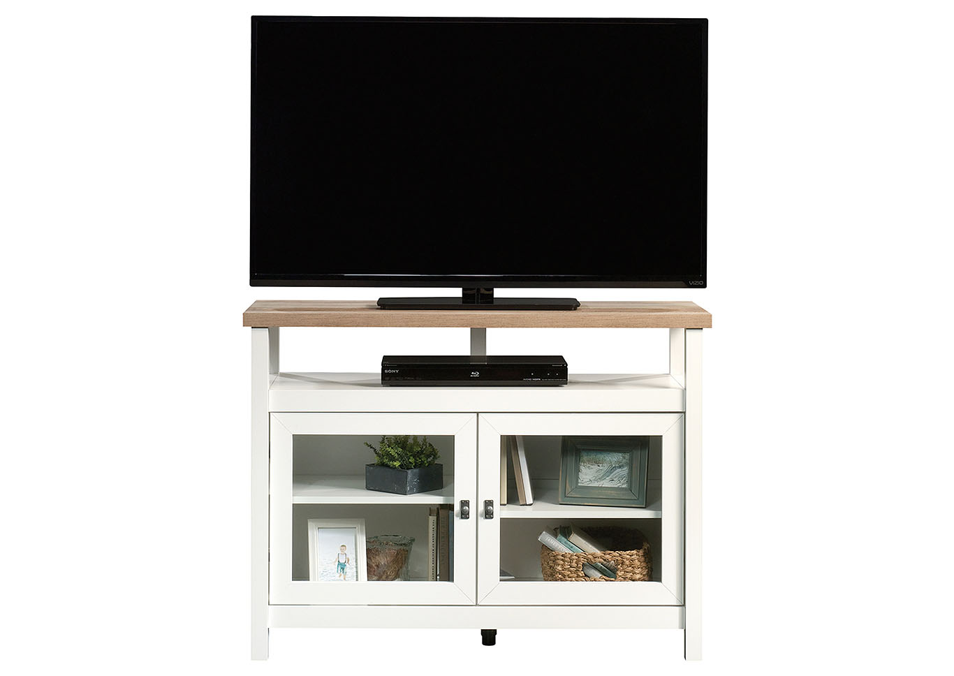 Cottage Road Soft White Entertainment Stand,Sauder