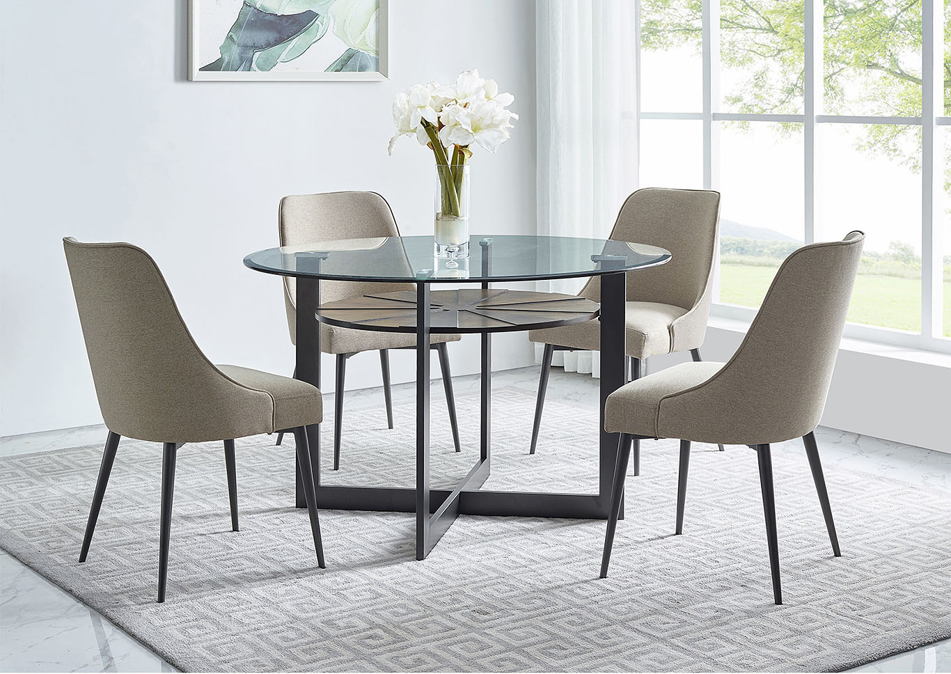 Picture of: Olson Grey Round Glass Top Dining Set W 4 Chairs Ivan Smith