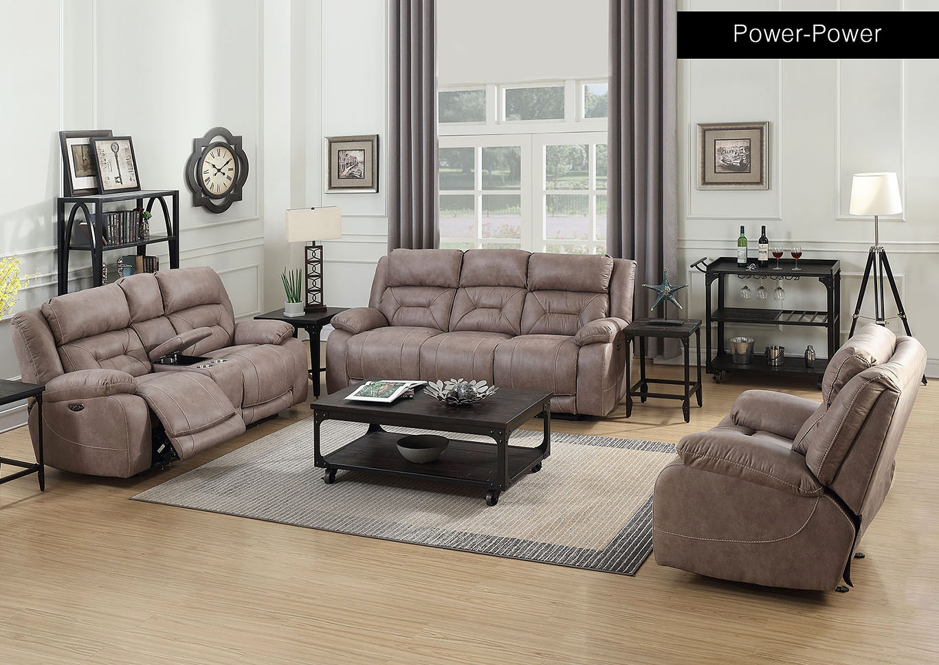 Aria Desert Sand Power-2 Recliner Sofa, Armchair & Loveseat,Steve Silver