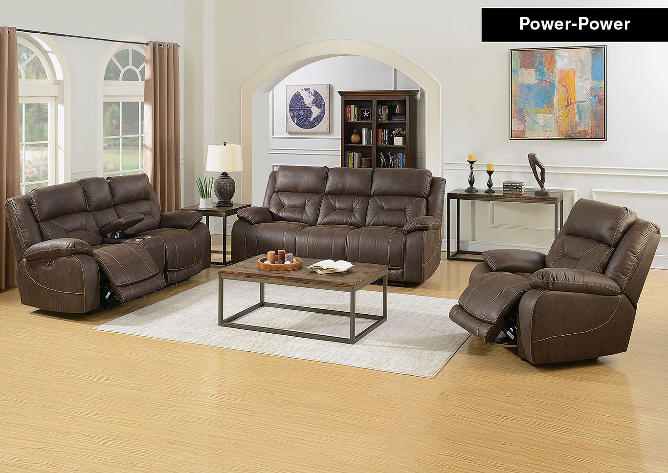 Aria Saddle Brown Power-2 Recliner Sofa & Armchair,Steve Silver