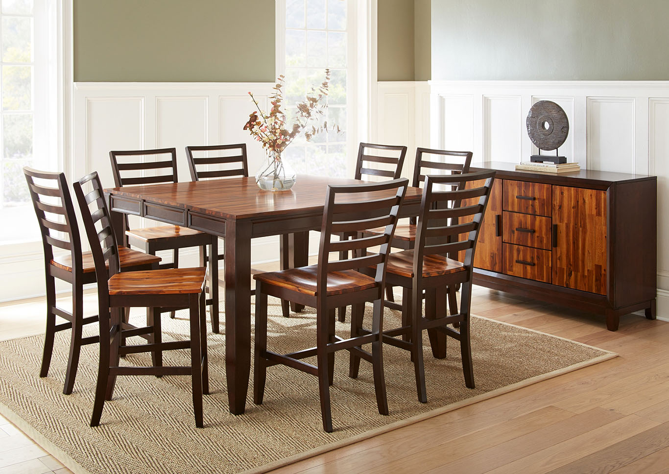 Abaco Brown Rectangular Dining Set W/ 6 Chairs & Sideboard,Steve Silver