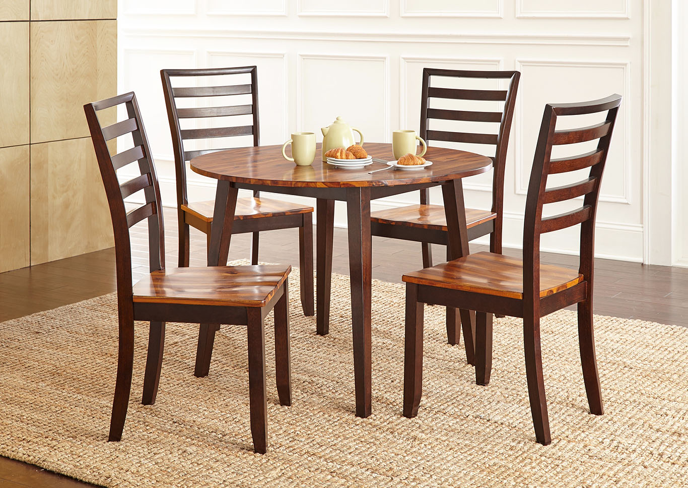 Abaco Brown Round Dining Set W/ 4 Chairs,Steve Silver