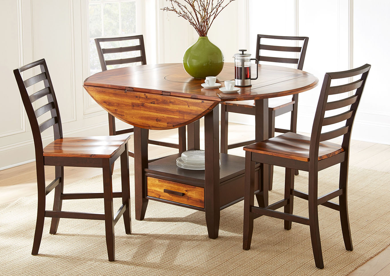 Abaco Brown Round Counter Dining Set W/ 4 Chairs,Steve Silver