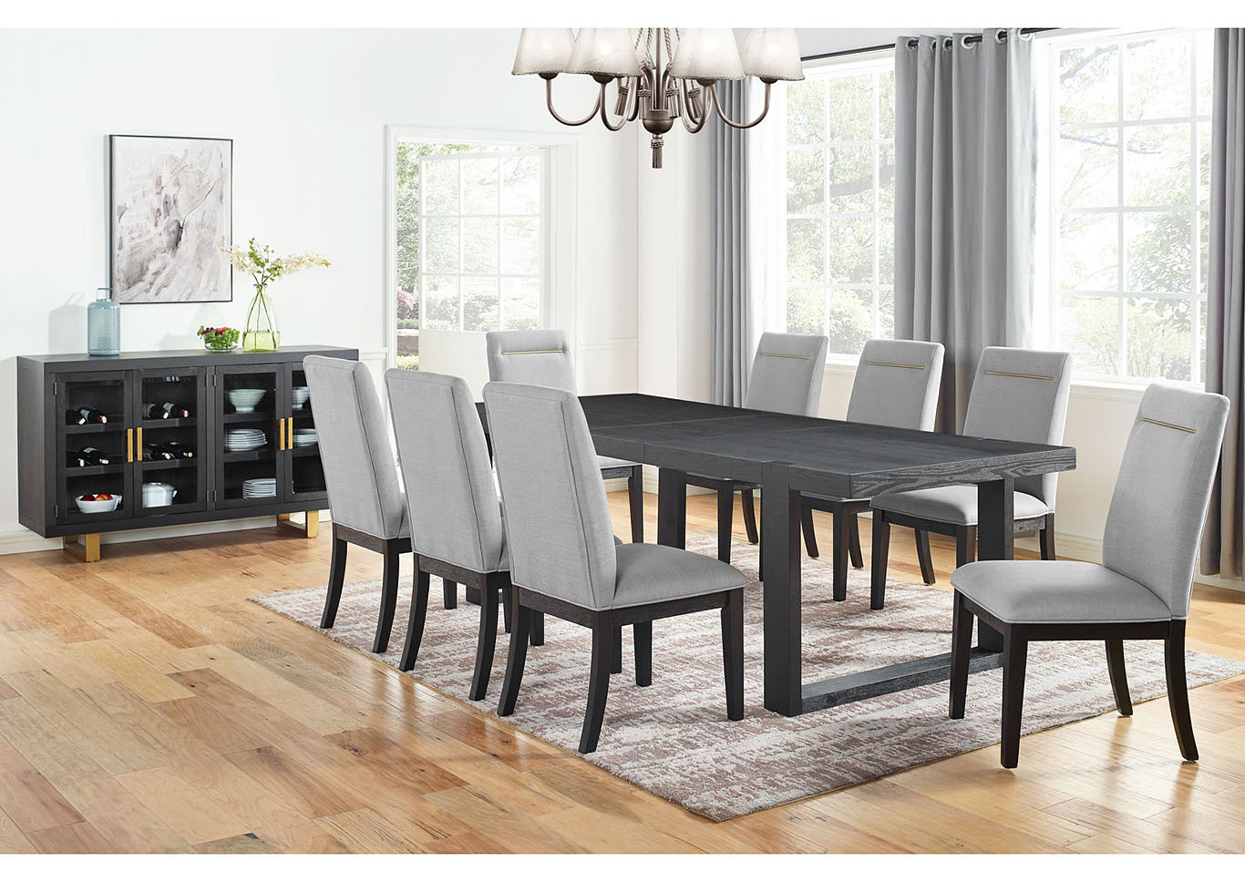 Yves Grey Rectangular Dining Set W 8 White Chairs Ivan Smith