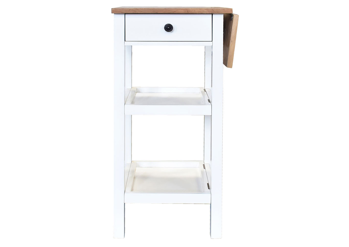Colmar White Kitchen Cart W/ Wooden Butcher Block,Steve Silver